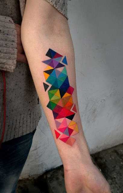 Colorful Geometric Watercolor Tattoos