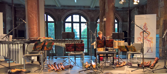Stage all set for a performance by Flautando Köln at Dresden Music Festival