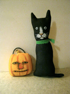 Black Cat With Pumpkin Art Doll for Halloween by Sandy Mastroni on Etsy