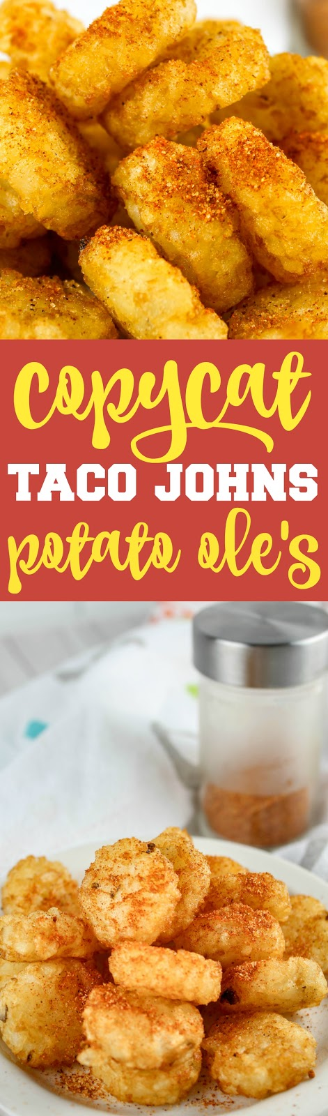 Taco John's Potato Oles are my one of my favorite Iowa treats. I ate them ALL THE TIME in college! They make tater tots salty, sweet, spicy and delicious! #tacojohns #copycatrecipe