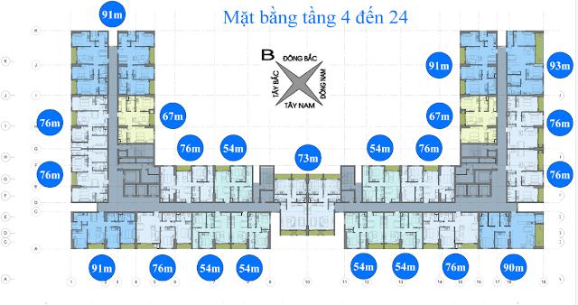 mặt bằng tầng 4 - 24 chung cư anland