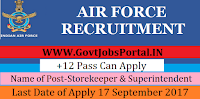Indian Air Force Recruitment 2017– 95 Storekeeper & Superintendent