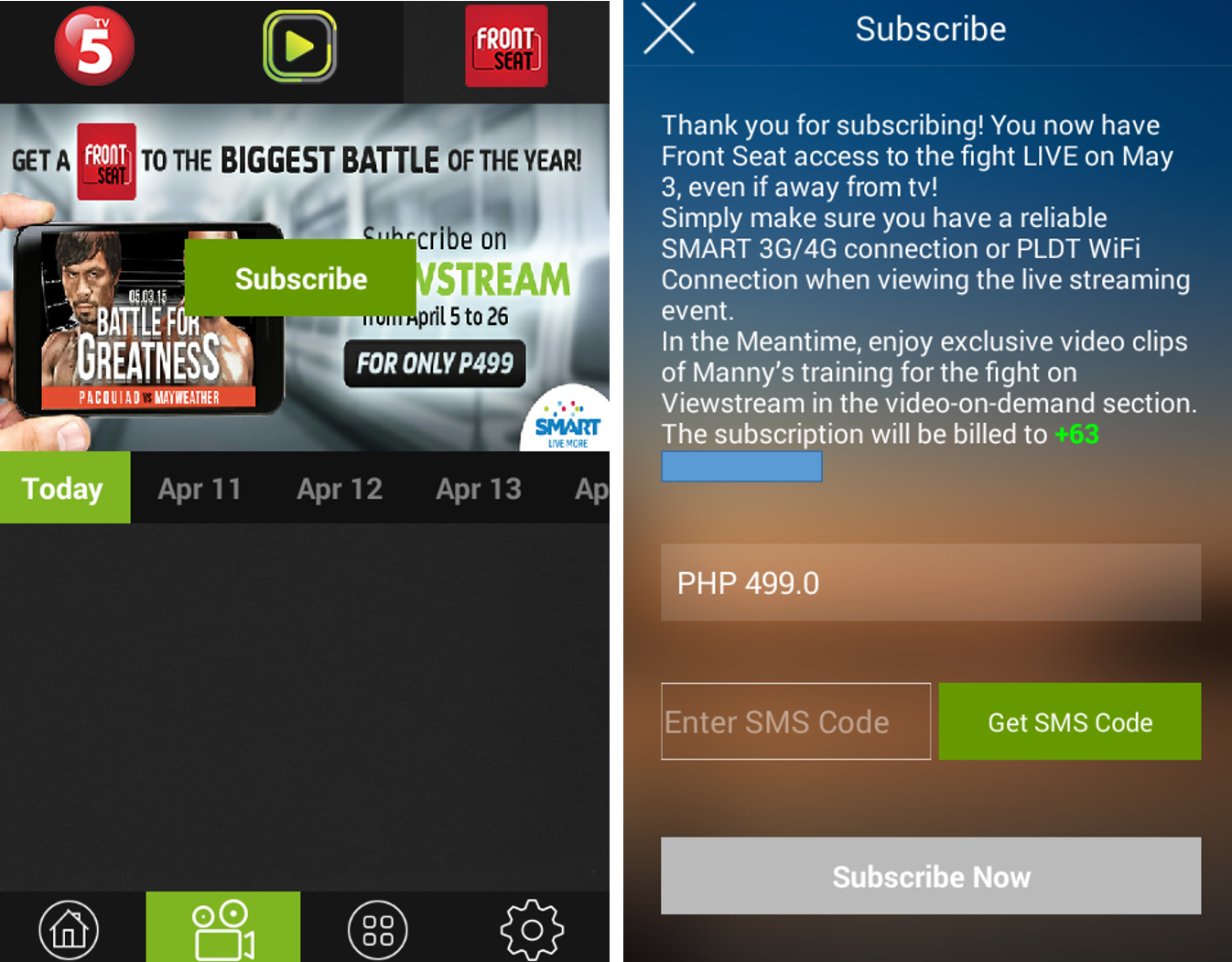 Pacquiao-Mayweather fight Live on your smartphone via Viewstream
