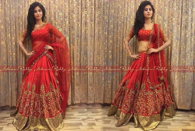 Shamili in Red Lehenga by Ahswini Reddy