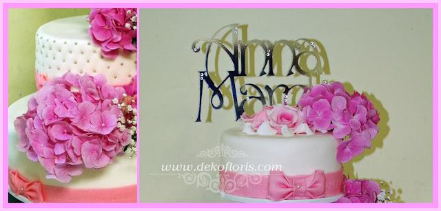 Różowa dekoracja kwiatowa tortu weselnego Komorno opolskie