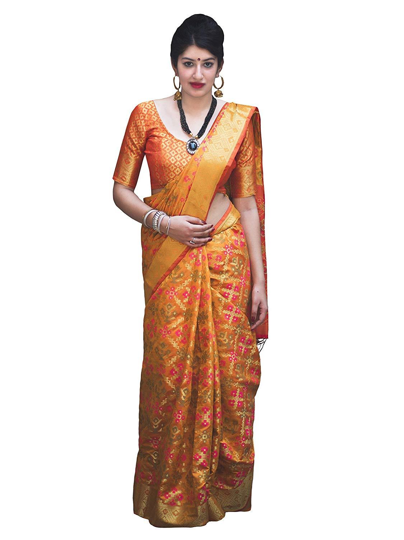 Applecreation Women'S Patola Silk Saree With Blouse Piece (2)
