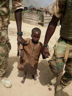 Photo: Troops rescue 5-year-old boy from Boko Haram captivity in Bama, Borno