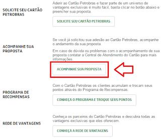 status proposta cartão Petrobras