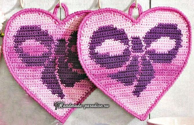 прихватки в виде сердечек с бантиками