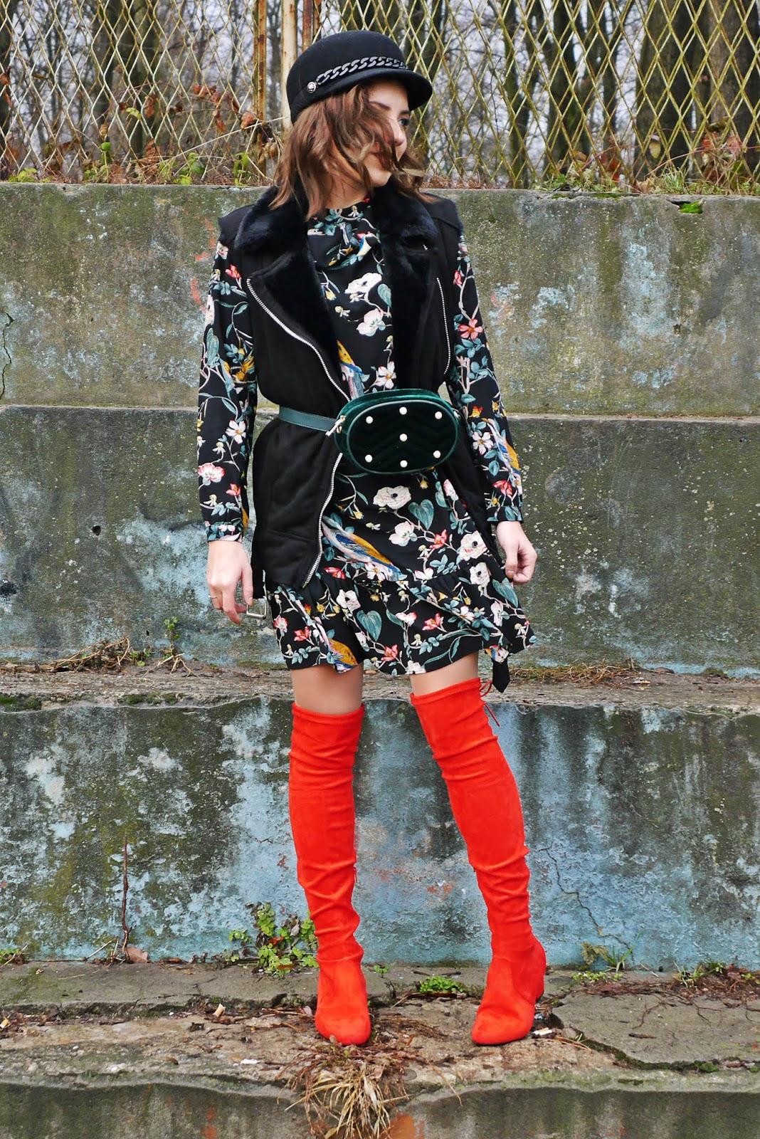 floral dress high knee red boots outfit look karyn blog modowy fashion blogger blogerka modowa modowe stylizacje ciekawe