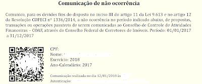 DECLARAÇÃO DE NÃO OCORRÊNCIA 2018 - SABERIMOBILIARIO