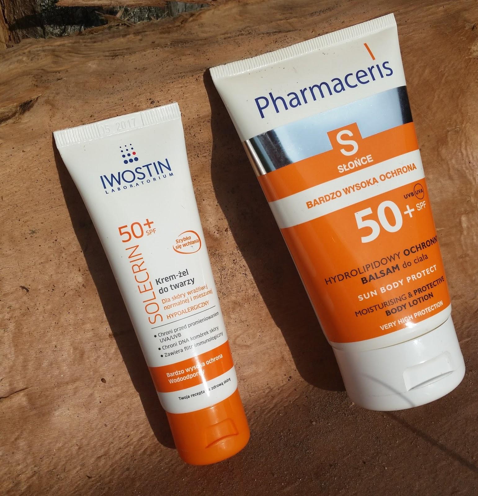 Ochrona przeciwsłoneczna, coś do ciała i do twarzy. SPF 50: Iwostin Solecrin/ Pharmaceris S
