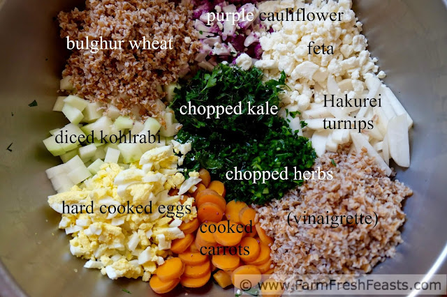 a bowl with the ingredients used to make CSA farm share chopped salad