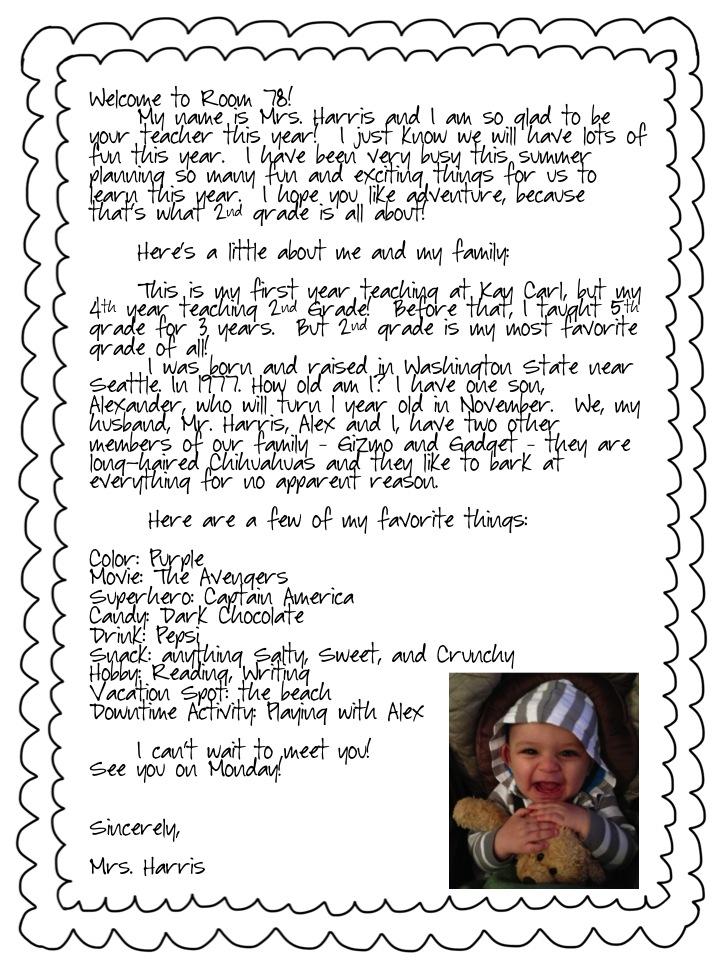 Edison  Bean Welcome Back Letter