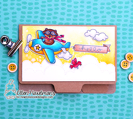 Interactive Birthday Card by Ellen Haxelmans | Winston Takes Flight Stamp Set by Newton's Nook Designs #newtonsnook