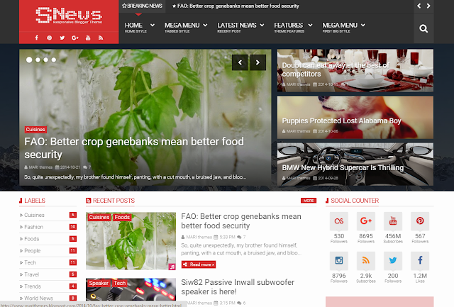 Snews Blogger Template Free Download