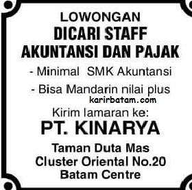 Lowongan Kerja PT. Kinarya Indonesia