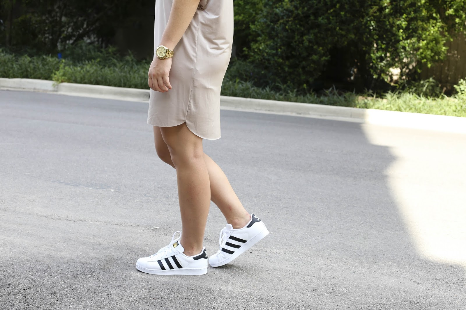 Adidas Superstar with dress