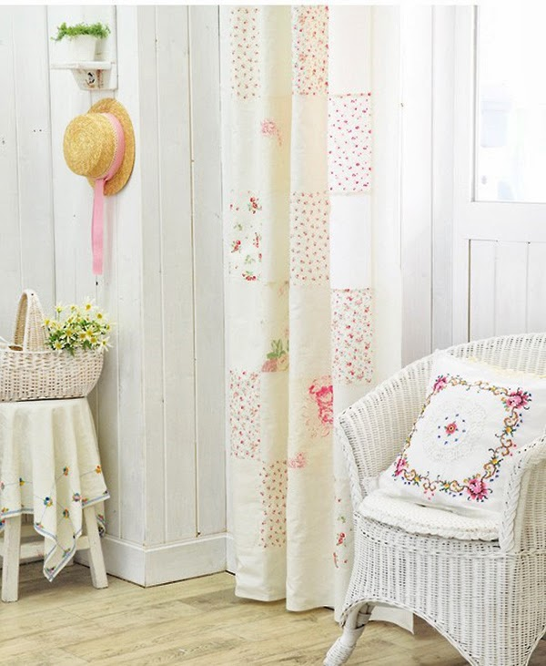 Shabby Chic Corner in a living room with embroidered cushions and patchwork curtains