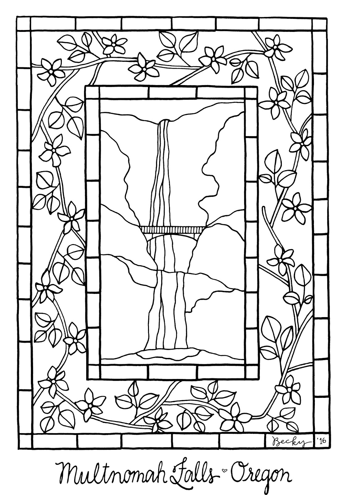 Hoffee And A Nuffin Free Coloring Page Multnomah Falls Oregon