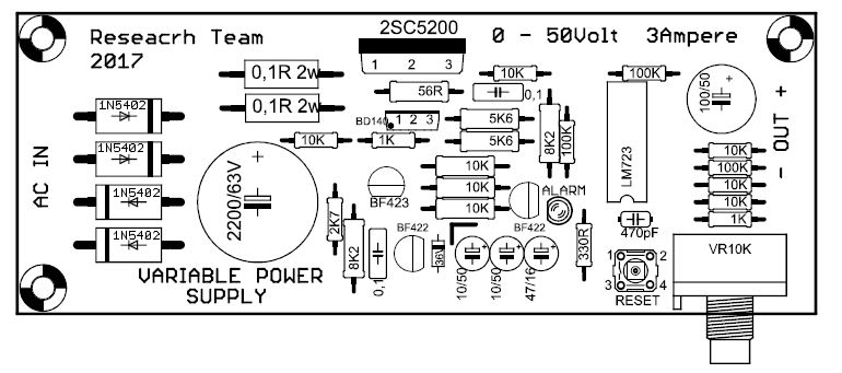 power supply variable 0-50v 3a with current protection lm723