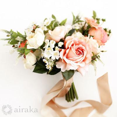 フレンチローズのブーケ‗ウェディングブーケと花の髪飾りairaka