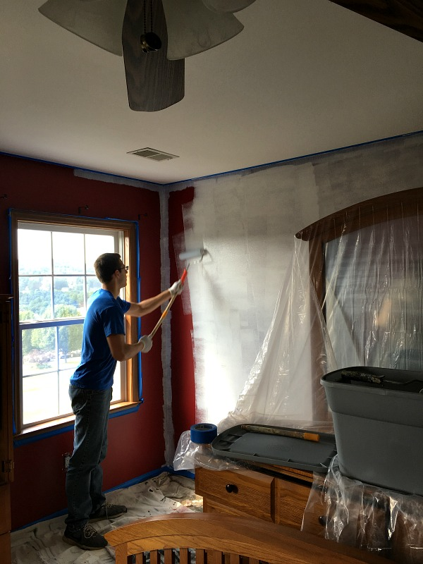 Tips on covering up dark colored walls from Walking on Sunshine Recipes.