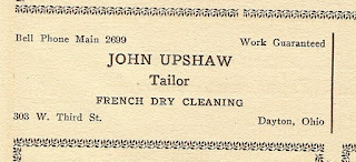 John Upshaw Tailor once located at 1127 West Third Street Dayton Ohio