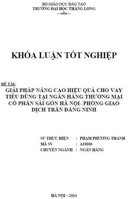 Giải pháp nâng cao hiệu quả cho vay tiêu dùng tại ngân hàng thương mại cổ phần Sài Gòn - Hà Nội Phòng giao dịch Trần Đăng Ninh