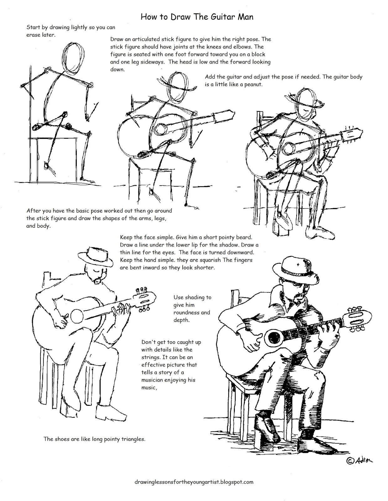 worksheet Drawing Worksheets how to draw worksheets for the young artist a man playing guitar worksheet