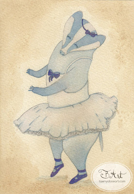 Badger Ballet Dancer - Watercolor Illustration - By Tawnya Boe