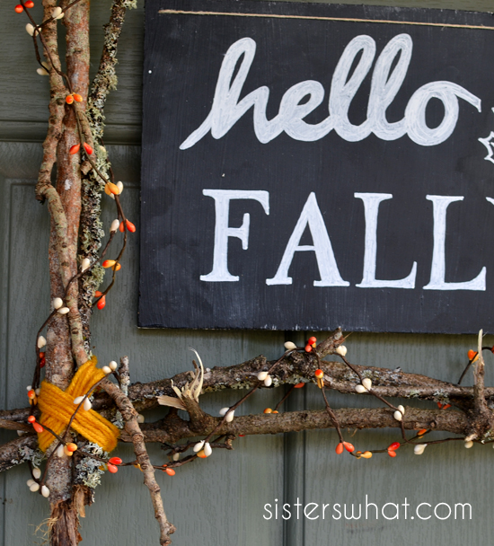hello fall sign and wreath made for only $3!