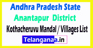 Kothacheruvu Mandal Villages Codes Anantapur District Andhra Pradesh State India
