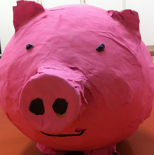Paper mache animal pig school paints