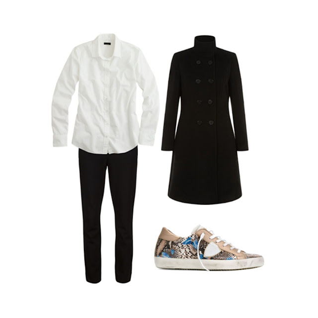 long black military coat, black trousers, white button down shirt, Philippe Model snakeskin sneakers