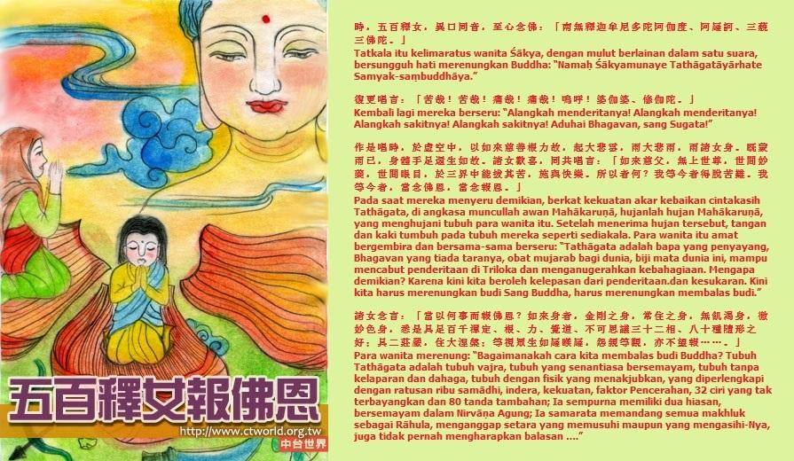 "Tatkala itu kelimaratus wanita Śākya, dengan mulut berlainan dalam satu suara, bersungguh hati merenungkan Buddha: ""Namaḥ Śākyamunaye Tathāgatāyārhate Samyak-saṃbuddhaya."" Kembali lagi mereka berseru: ""Alangkah menderitanya! Alangkah menderitanya! Alangkah sakitnya! Alangkah sakitnya! Aduhai Bhagavan, sang Sugata!"" Pada saat mereka menyeru demikian, berkat kekuatan akar kebaikan cintakasih Tathāgata, di angkasa muncullah awan Mahākaruṇā, hujanlah hujan Mahākaruṇā, yang menghujani tubuh para wanita itu. Setelah menerima hujan tersebut, tangan dan kaki tumbuh pada tubuh mereka seperti sediakala. Para wanita itu amat bergembira dan bersama-sama berseru:""Tathāgata adalah bapa yang penyayang, Bhagavan yang tiada taranya, obat mujarab bagi dunia, biji mata dunia ini, mampu mencabut penderitaan di Triloka dan menganugerahkan kebahagiaan. Mengapa demikian? Karena kini kita beroleh kelepasan dari penderitaan dan kesukaran. Kini kita harus merenungkan budi Sang Buddha, harus merenungkan membalas budi."" Para wanita merenung: ""Bagaimanakah cara kita membalas budi Buddha? Tubuh Tathāgata adalah tubuh vajra, tubuh yang senantiasa bersemayam, tubuh tanpa kelaparan dan dahaga, tubuh dengan fisik yang menakjubkan, yang diperlengkapi dengan ratusan ribu samadhi, indera, kekuatan, faktor Pencerahan, 32 ciri yang tak terbayangkan dan 80 tanda tambahan; Ia sempurna memiliki dua hiasan, bersemayam dalam Nirvāṇa Agung; Ia samarata memandang semua makhluk sebagai Rāhula, menganggap setara yang memusuhi maupun yang mengasihi-Nya, juga tidak pernah mengharapkan balasan …."""