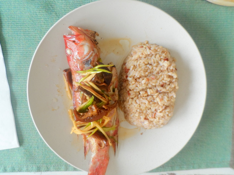 Sea Green Dad's Favorite Asian Style Steamed Fish with Brown Rice