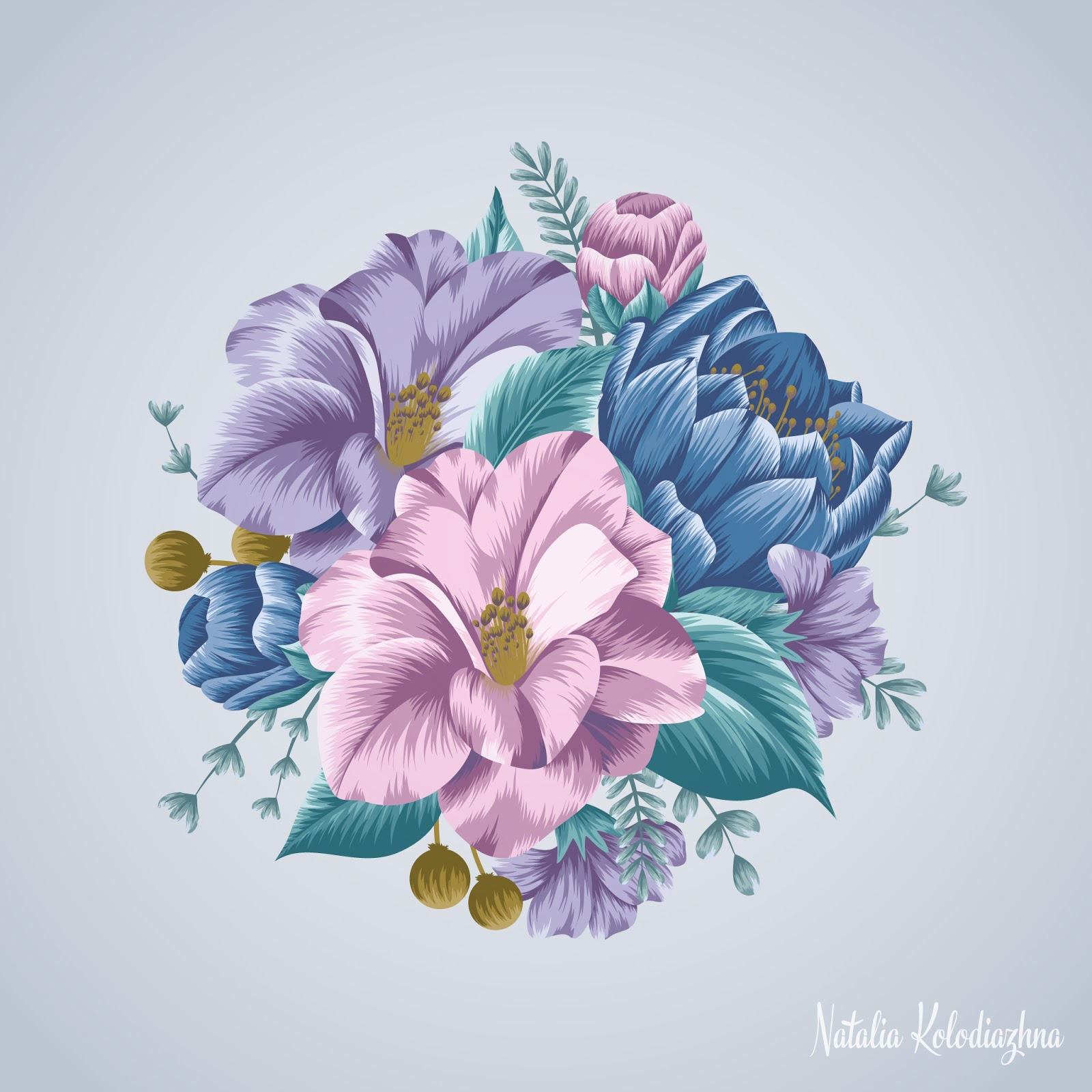 Gorgeous floral motif with camellia flowers by Natalia Kolodiazhna