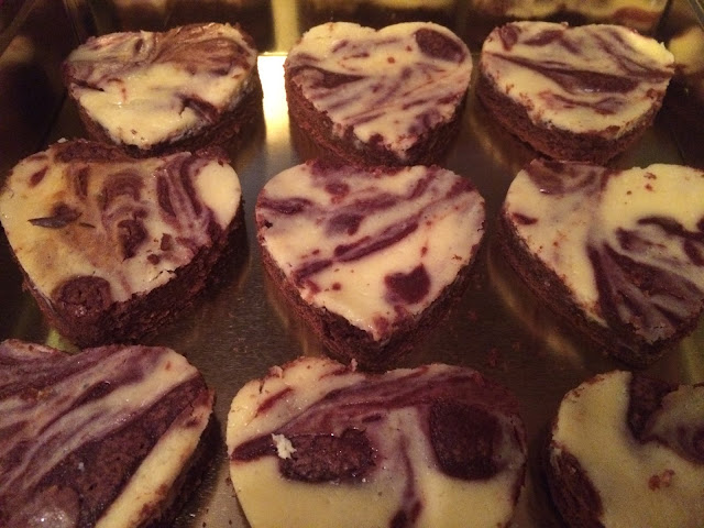 Picture of red velvet cheesecake heart shaped brownies