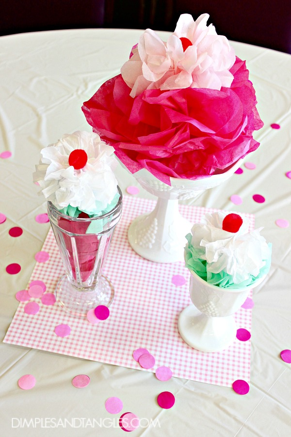 ice cream party decorations, ice cream sundae decor, milk glass, party centerpiece, banquet centerpiece ideas