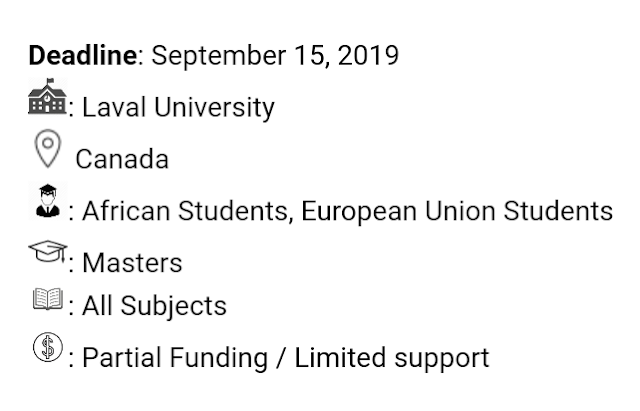 Laval University Master's Scholarships in Canada, 2020