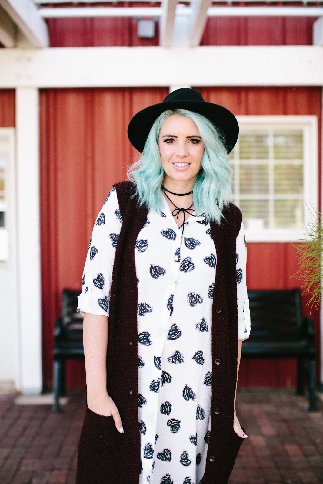 Black Hearts, Sweater Vest, Fall Outfit