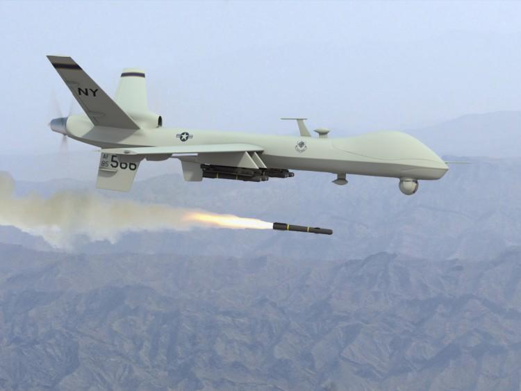 Predator firing missile