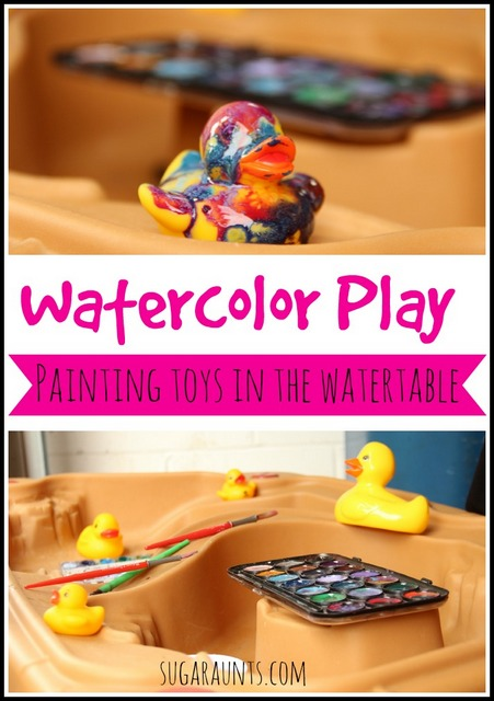 Use watercolors to paint toys in the watertable.  Wash them off when done. So much fun!