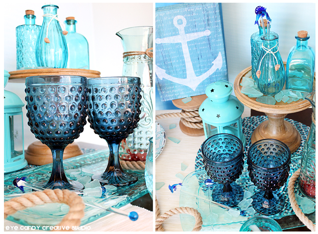 beach theme dessert table, father's day, glassware, anchor art