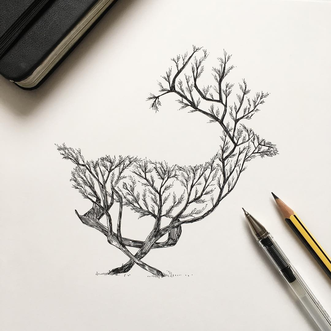 14-Deer-Tree-Alfred-Basha-The-World-of-the-Mind-Expressed-in-Drawings-www-designstack-co