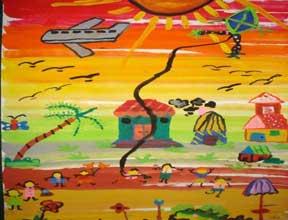 Lukisan Pemandangan Karya Anak SD; Hasil ekspresi dari pengalaman kehidupan anak sehari-hari