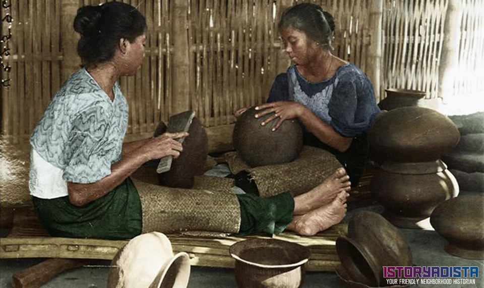 Filipino women making clay pots (c1900s)
