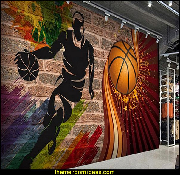 Decorating theme bedrooms maries manor basketball for Basketball mural wallpaper