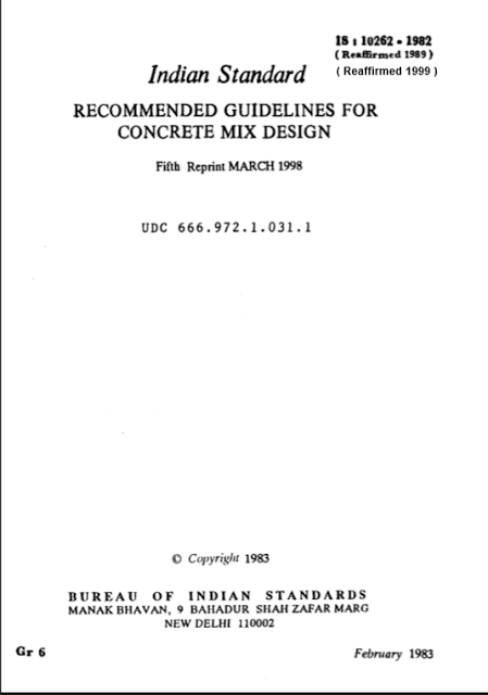 concrete mix design code is 10262 free download